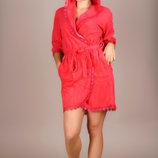 Женский короткий махровый халат и в больших размерах 0016-1 Капюшон Кружево в расцветках.