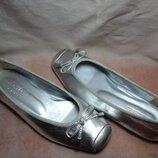 Серебристые балетки балеринки