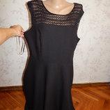 платье трикотажное чёрное на подкладке р16
