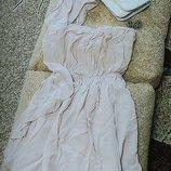 Коктейльное платье на одно плечо цвета пудра