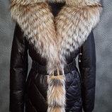 Шикарное кожаное пальто с мехом чернобурки под заказ