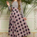 Двухцветное платье-миди с втачным широким поясом