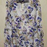 Праздничная повседневная блуза рубашка.полевые цветы. с чокером. 5XL
