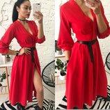 женское платье миди креп шифон в разных цветах кш 696