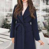 Кашемировое пальто классика 42-60 Сприн на подкладке синее