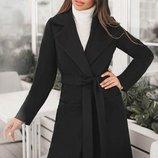 Пальто кашемир с поясом 42-60 Сприн на подкладке черное