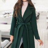 Кашемировое пальто классика 42-60 Сприн на подкладке изумруд