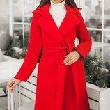 Кашемировое пальто классика 42-60 Сприн на подкладке красное