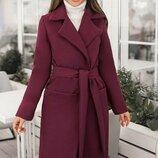 Кашемировое пальто классика 42-60 Сприн на подкладке бордо