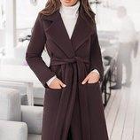 Кашемировое пальто на запах 42-60 Сприн на подкладке шоколад