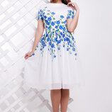 Платье Мияна-Кд Синие Цветы К/р,размер S