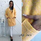 Пальто из натуральной ткани В наличии Ткань букле На подкладке Бэрбэри Мод-1039 Размеры s,m, L