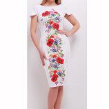Платье Питрэса-Ф Цветы К/р, размеры S, M, L