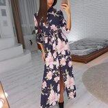 Цветочное платье миди софт