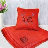Набор подушка и плед с вышивкой Crazy in love Оранжевый