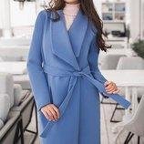 Пальто кашемир есть большие размеры Бентли на подкладке голубое