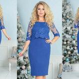 Шикарное нарядное прямое кружевное платье Одри большого размер микс цветов арт.889 скл.10