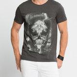 Серая мужская футболка LC Waikiki / Лс Вайкики с рисунком на груди