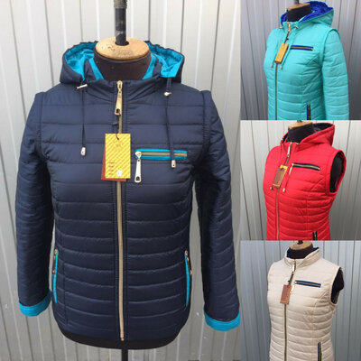 Демисезонные женские куртки-трансформеры, размеры 42-66, разные расцветки