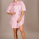 Женская стильная домашняя туника-рубашка в больших размерах 662-1 Хлопок Полоска Принт в расцветка