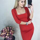 Элегантное платье Розалия с квадратным вырезом декольте ткань креп-дайвинг скл.10 арт.884