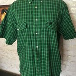 Натуральная рубашка зеленая в клетку