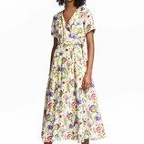 Платье на запахе H&M TREND S вискоза цветы