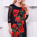 Платье Гардена-2Батал Алые Розы Д/р,р-Р XL, XXL, XXXL
