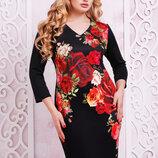 Платье Калоя-2Батал Розы Кд Д/р,размеры xl, XXL.