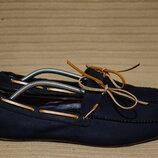Легкие веганские тканные мокасины цвета индиго H&M Швеция 44 р.