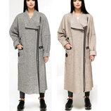 Стильное безподкладочное пальто fvt-1193-3-34 Aрт.160406 серый, бежевый деми