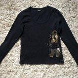 Реглан чёрный с золотистым принтом, размер М-Л