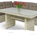 Садовая мебель. Угловой диван 2 пуфа с TECHNORATAN MALIBU. Польша. М
