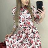 Цветочное платье мягкая ткань софт микс весенних цветов скл.1 арт.50772