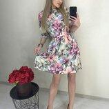 Цветочное платье мягкая ткань софт микс весенних цветов скл.1 арт.50771