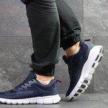 Nike Free Run 7.0 кроссовки мужские демисезонные синие с белым 7329