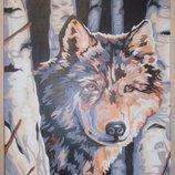 Картины картина волк волки цветы семья дети декор