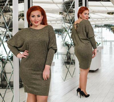 2a7ac911ba1 Женское платье-туника в больших размерах 1520-1 Ангора Летучая Мышь Спина в  расцветках. Previous Next