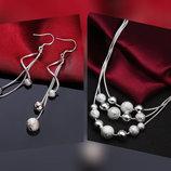 Набор 925 стерлинговое серебро.колье сережки