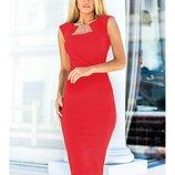 Платье футляр, красное, черное - 300 грн