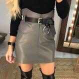 женская кожаная юбка с высокой посадкой пк 675