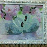 Картина Лебединая верность вышитая бисером