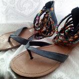 Джинсовые босоножки вьетнамки сандалии 36р, см 23 см Graceland