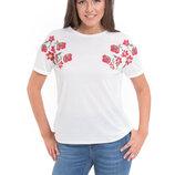 Белая женская футболка Lc Waikiki / Лс Вайкики с красными маками