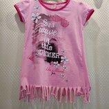 Яркая розовая футболка для девочки