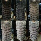 Жилетка шуба песец натуральный мех все размеры разные цвета