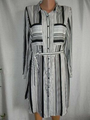 Новое платье рубашка в полоску 16р