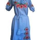 платья вышивка лен