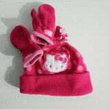 Распродажа Флис комплект шапка варежки на девочку Hello Kitty by Sanrio