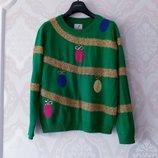Размер S/M Яркий фирменный новогодний свитер